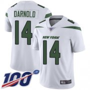 Wholesale Cheap Nike Jets #14 Sam Darnold White Youth Stitched NFL 100th Season Vapor Limited Jersey