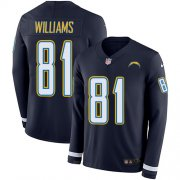 Wholesale Cheap Nike Chargers #81 Mike Williams Navy Blue Team Color Men's Stitched NFL Limited Therma Long Sleeve Jersey