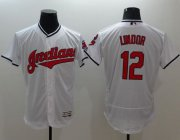 Wholesale Cheap Indians #12 Francisco Lindor White Flexbase Authentic Collection Stitched MLB Jersey
