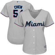 Wholesale Cheap Marlins #54 Wei-Yin Chen Grey Road Women's Stitched MLB Jersey