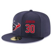 Wholesale Cheap Houston Texans #30 Kevin Johnson Snapback Cap NFL Player Navy Blue with Red Number Stitched Hat