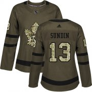 Wholesale Cheap Adidas Maple Leafs #13 Mats Sundin Green Salute to Service Women's Stitched NHL Jersey
