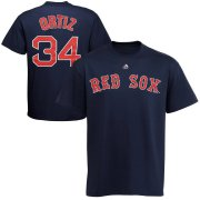 Wholesale Cheap Boston Red Sox #34 David Ortiz Majestic Official Name and Number T-Shirt Navy