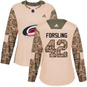 Wholesale Cheap Adidas Hurricanes #42 Gustav Forsling Camo Authentic 2017 Veterans Day Women's Stitched NHL Jersey