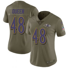 Wholesale Cheap Nike Ravens #48 Patrick Queen Olive Women\'s Stitched NFL Limited 2017 Salute To Service Jersey