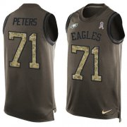 Wholesale Cheap Nike Eagles #71 Jason Peters Green Men's Stitched NFL Limited Salute To Service Tank Top Jersey