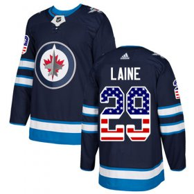 Wholesale Cheap Adidas Jets #29 Patrik Laine Navy Blue Home Authentic USA Flag Stitched Youth NHL Jersey