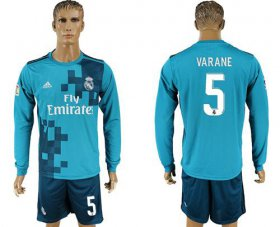 Wholesale Cheap Real Madrid #5 Varane Sec Away Long Sleeves Soccer Club Jersey