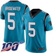 Wholesale Cheap Nike Panthers #5 Teddy Bridgewater Blue Youth Stitched NFL Limited Rush 100th Season Jersey