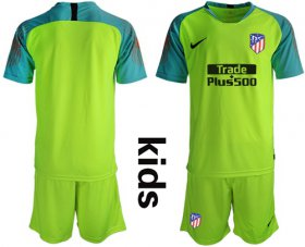 Wholesale Cheap Atletico Madrid Blank Shiny Green Goalkeeper Kid Soccer Club Jersey
