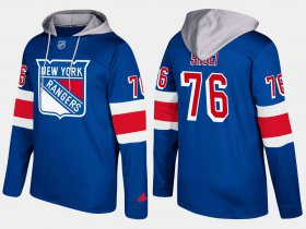 Wholesale Cheap Rangers #76 Brady Skjei Blue Name And Number Hoodie
