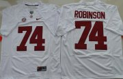 Wholesale Cheap Men's Alabama Crimson Tide #74 Cam Robinson White Limited Stitched College Football Nike NCAA Jersey