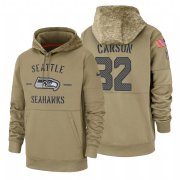Wholesale Cheap Seattle Seahawks #32 Chris Carson Nike Tan 2019 Salute To Service Name & Number Sideline Therma Pullover Hoodie