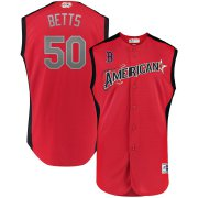 Wholesale Cheap American League # 50 Mookie Betts Majestic 2019 MLB All-Star Game Workout Player Jersey Red