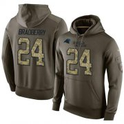 Wholesale Cheap NFL Men's Nike Carolina Panthers #24 James Bradberry Stitched Green Olive Salute To Service KO Performance Hoodie