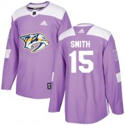 Wholesale Cheap Adidas Predators #15 Craig Smith Purple Authentic Fights Cancer Stitched NHL Jersey