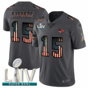 Wholesale Cheap Kansas City Chiefs #15 Patrick Mahomes Black Super Bowl LIV 2020 Nike 2018 Salute to Service Retro USA Flag Limited NFL Jersey