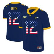 Wholesale Cheap West Virginia Mountaineers 12 Geno Smith Navy USA Flag College Football Jersey
