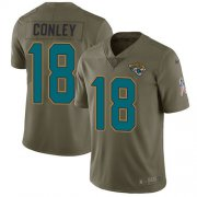 Wholesale Cheap Nike Jaguars #18 Chris Conley Olive Men's Stitched NFL Limited 2017 Salute to Service Jersey