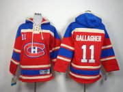 Wholesale Cheap Canadiens #11 Brendan Gallagher Red Sawyer Hooded Sweatshirt Stitched Youth NHL Jersey