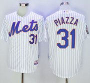 Wholesale Cheap Mets #31 Mike Piazza White(Blue Strip) 2016 Hall Of Fame Patch Stitched MLB Jersey