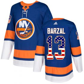 Wholesale Cheap Adidas Islanders #13 Mathew Barzal Royal Blue Home Authentic USA Flag Stitched Youth NHL Jersey