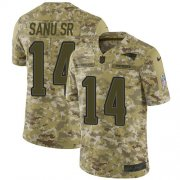 Wholesale Cheap Nike Patriots #14 Mohamed Sanu Sr Camo Youth Stitched NFL Limited 2018 Salute to Service Jersey