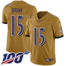 Wholesale Cheap Nike Ravens #15 Marquise Brown Gold Men\'s Stitched NFL Limited Inverted Legend 100th Season Jersey