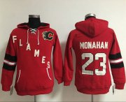 Wholesale Cheap Calgary Flames #23 Sean Monahan Red Women's Old Time Heidi NHL Hoodie