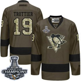 Wholesale Cheap Penguins #19 Bryan Trottier Green Salute to Service 2017 Stanley Cup Finals Champions Stitched NHL Jersey