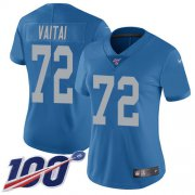 Wholesale Cheap Nike Lions #72 Halapoulivaati Vaitai Blue Throwback Women's Stitched NFL 100th Season Vapor Untouchable Limited Jersey