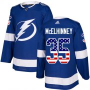 Cheap Adidas Lightning #35 Curtis McElhinney Blue Home Authentic USA Flag Stitched NHL Jersey