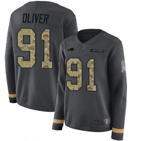 Wholesale Cheap Nike Bills #91 Ed Oliver Anthracite Salute to Service Women\'s Stitched NFL Limited Therma Long Sleeve Jersey