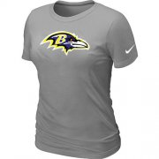 Wholesale Cheap Women's Nike Baltimore Ravens Logo NFL T-Shirt Light Grey