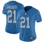 Wholesale Cheap Nike Lions #21 Tracy Walker Blue Throwback Women's Stitched NFL Vapor Untouchable Limited Jersey