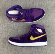 Wholesale Cheap Air Jordan 1 GS Retro Shoes Purple/Gold-White