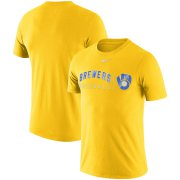 Wholesale Cheap Milwaukee Brewers Nike MLB Practice T-Shirt Gold