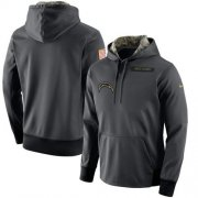 Wholesale Cheap Men's Los Angeles Chargers Nike Anthracite Salute to Service Player Performance Hoodie