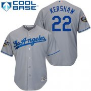 Wholesale Cheap Dodgers #22 Clayton Kershaw Grey Cool Base 2018 World Series Stitched Youth MLB Jersey