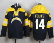 Wholesale Cheap Nike Chargers #14 Dan Fouts Navy Blue Player Pullover NFL Hoodie