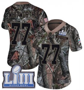 Wholesale Cheap Nike Rams #77 Andrew Whitworth Camo Super Bowl LIII Bound Women\'s Stitched NFL Limited Rush Realtree Jersey