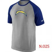 Wholesale Cheap Nike San Diego Chargers Ash Tri Big Play Raglan NFL T-Shirt Grey/Blue