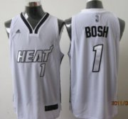 Wholesale Cheap Miami Heats #1 Chris Bosh White With Silvery Fashion Jersey