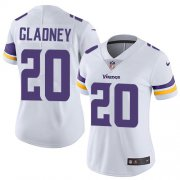 Wholesale Cheap Nike Vikings #20 Jeff Gladney White Women's Stitched NFL Vapor Untouchable Limited Jersey