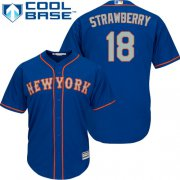 Wholesale Cheap Mets #18 Darryl Strawberry Blue(Grey NO.) Cool Base Stitched Youth MLB Jersey