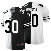 Cheap Los Angeles Rams #30 Todd Gurley II Men's Black V White Peace Split Nike Vapor Untouchable Limited NFL Jersey