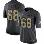 Wholesale Cheap Nike Dolphins #68 Robert Hunt Black Men's Stitched NFL Limited 2016 Salute to Service Jersey