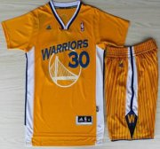 Wholesale Cheap Golden State Warriors 30 Stephen Curry Yellow Revolution 30 Swingman NBA Jerseys Shorts NBA Suits