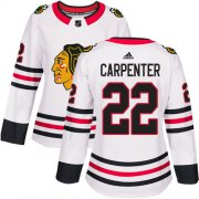 Wholesale Cheap Adidas Blackhawks #22 Ryan Carpenter White Road Authentic Women's Stitched NHL Jersey