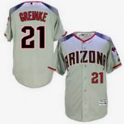 Wholesale Cheap Diamondbacks #21 Zack Greinke Gray/Brick New Cool Base Stitched MLB Jersey